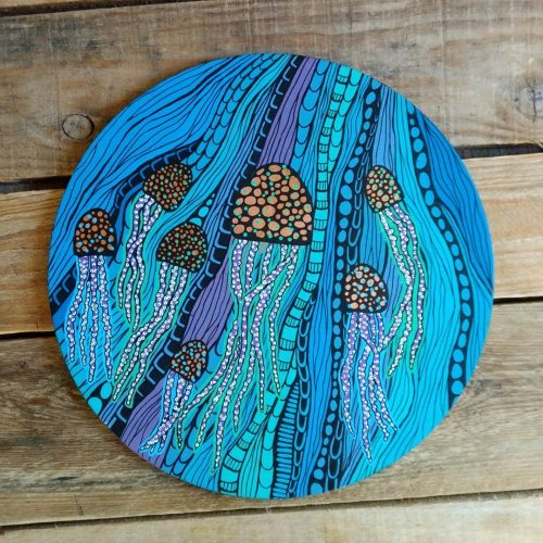ORIGINAL Artwork on Wood – Jellyfish
