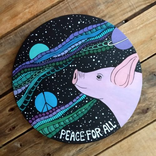 ORIGINAL Artwork on Wood – Peace For All 🐷