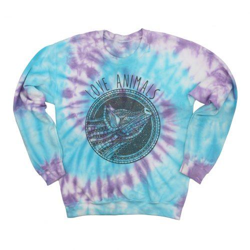 Tie Dye Sweatshirt Love animals