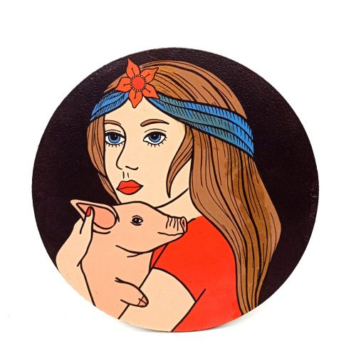 Print on wood – Girl & Pig