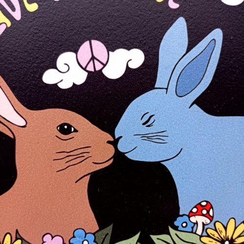 Print on wood – Bunnies & Peace